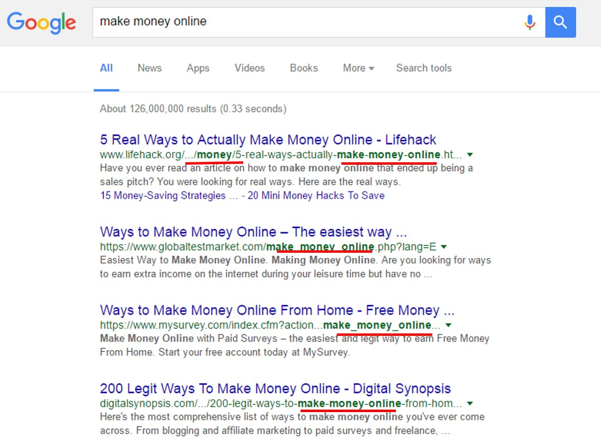 on page seo factors that will boost website ranking in search in this example i searched term make money online and these are the results if you have noticed all the website links that appeared in search result