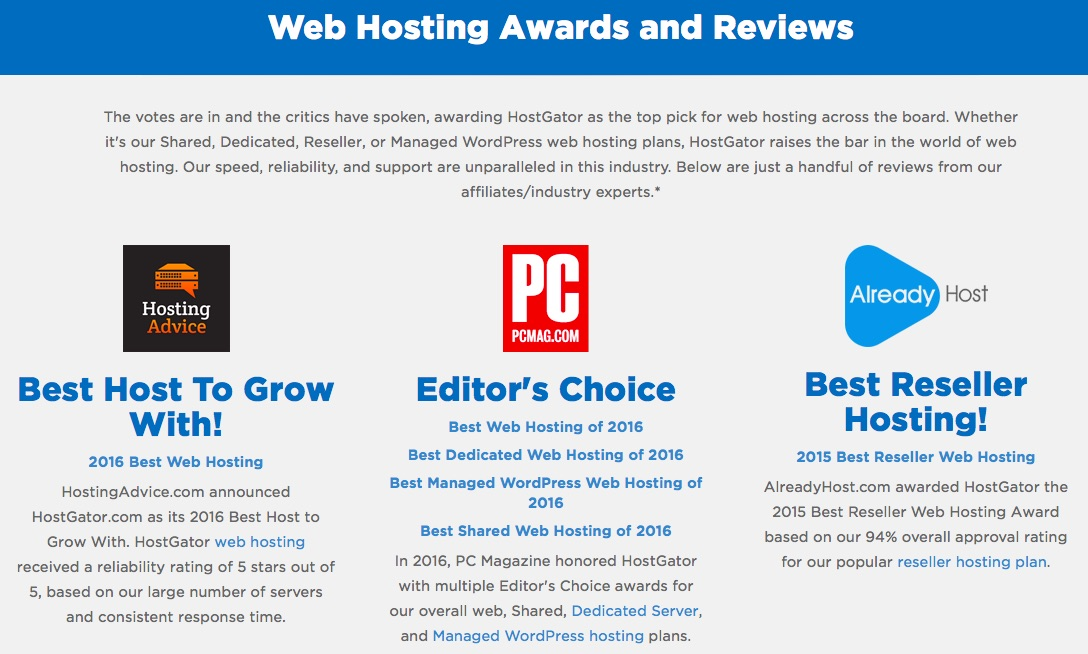 Hostgator awards