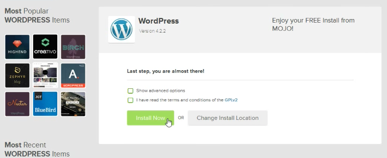 Wordpress chose domain
